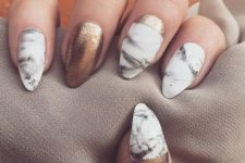 19 white marble nails and copper accents