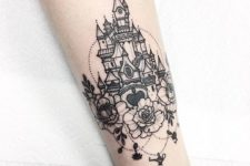 20 a black ink wrist tattoo with a princess castle and flowers