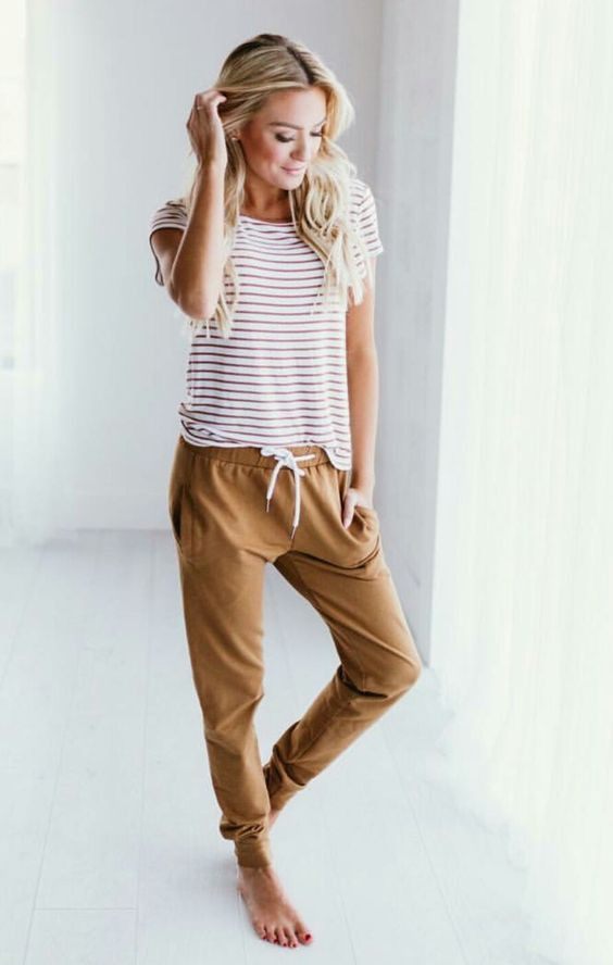 comfy ocher pants and a striped t-shirt