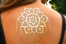20 large mandala in gold henna on the back