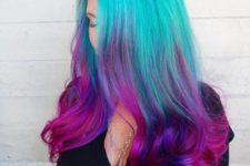 20 neon green to pink ombre hair