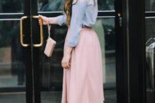 20 nude heels, a blush midi skirt and a chambray shirt