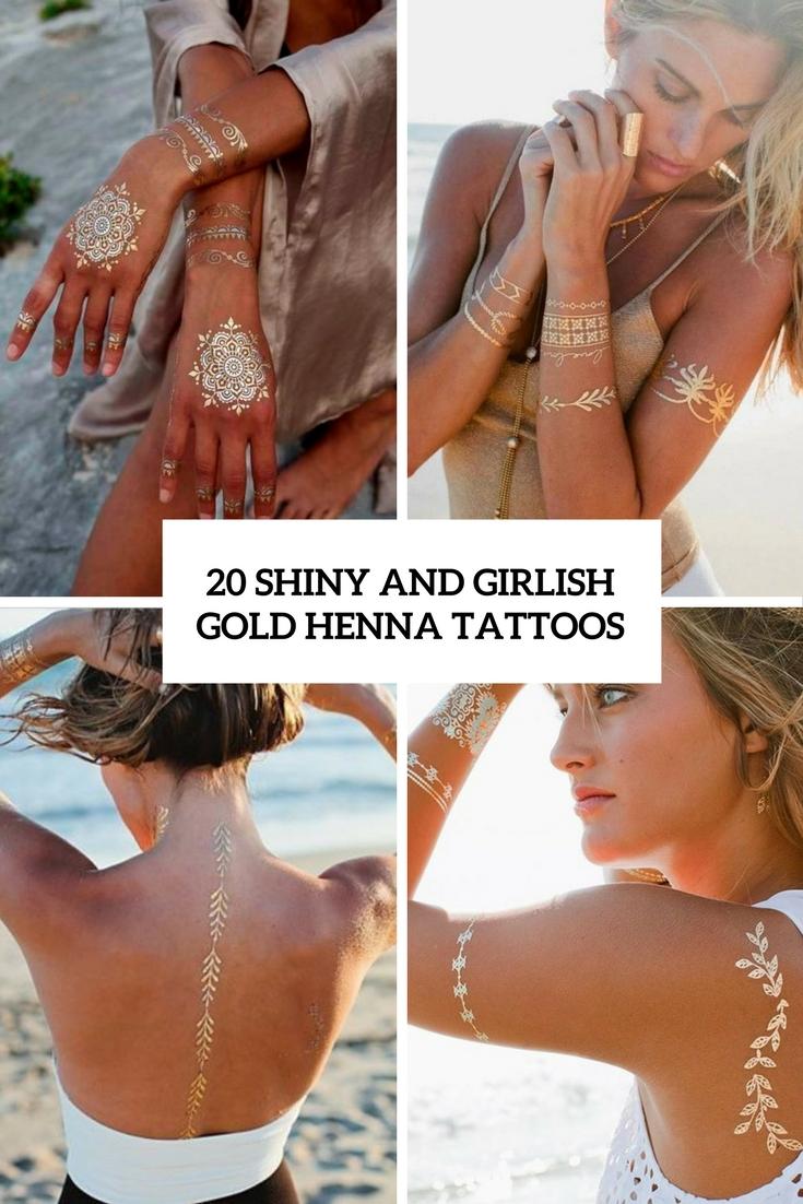 20 Shiny And Girlish Gold Henna Tattoos