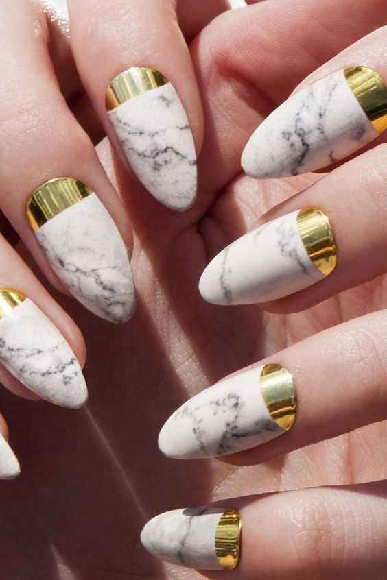 white marble nails with gold stickers