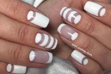 21 striped white and negative space manicture