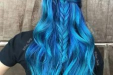 21 vivid bold blue ombre hair with a darker base