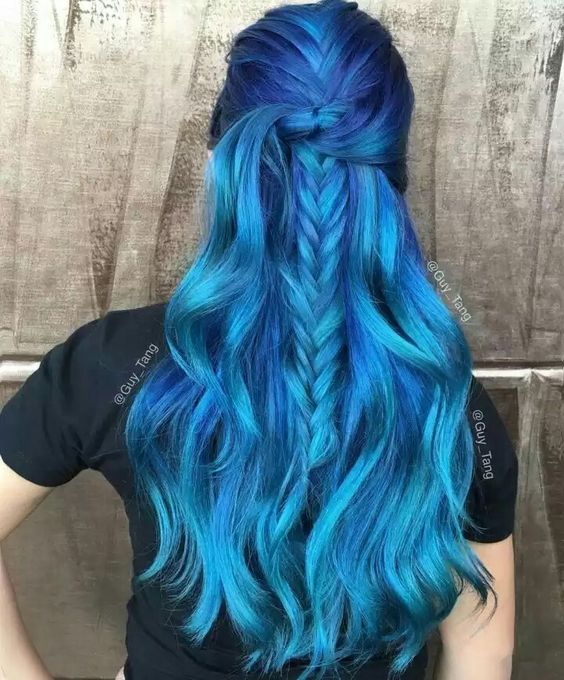 vivid bold blue ombre hair with a darker base