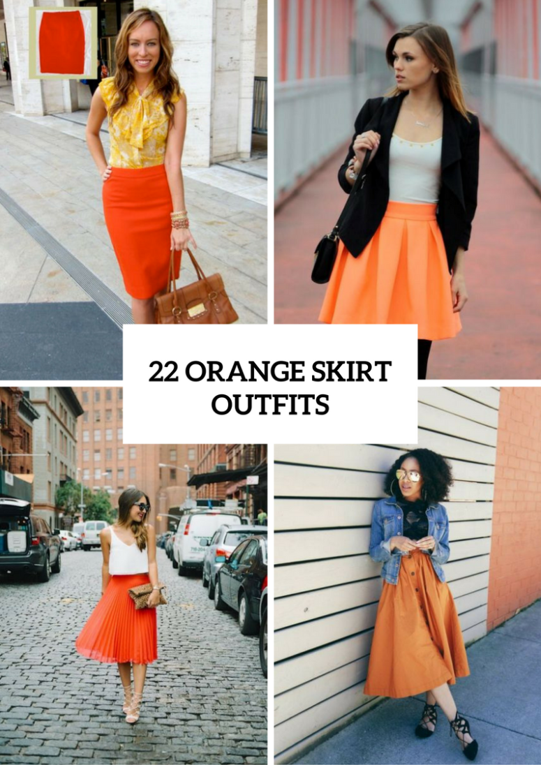 22 Perfect Orange Skirt Outfits For Fashionable Ladies