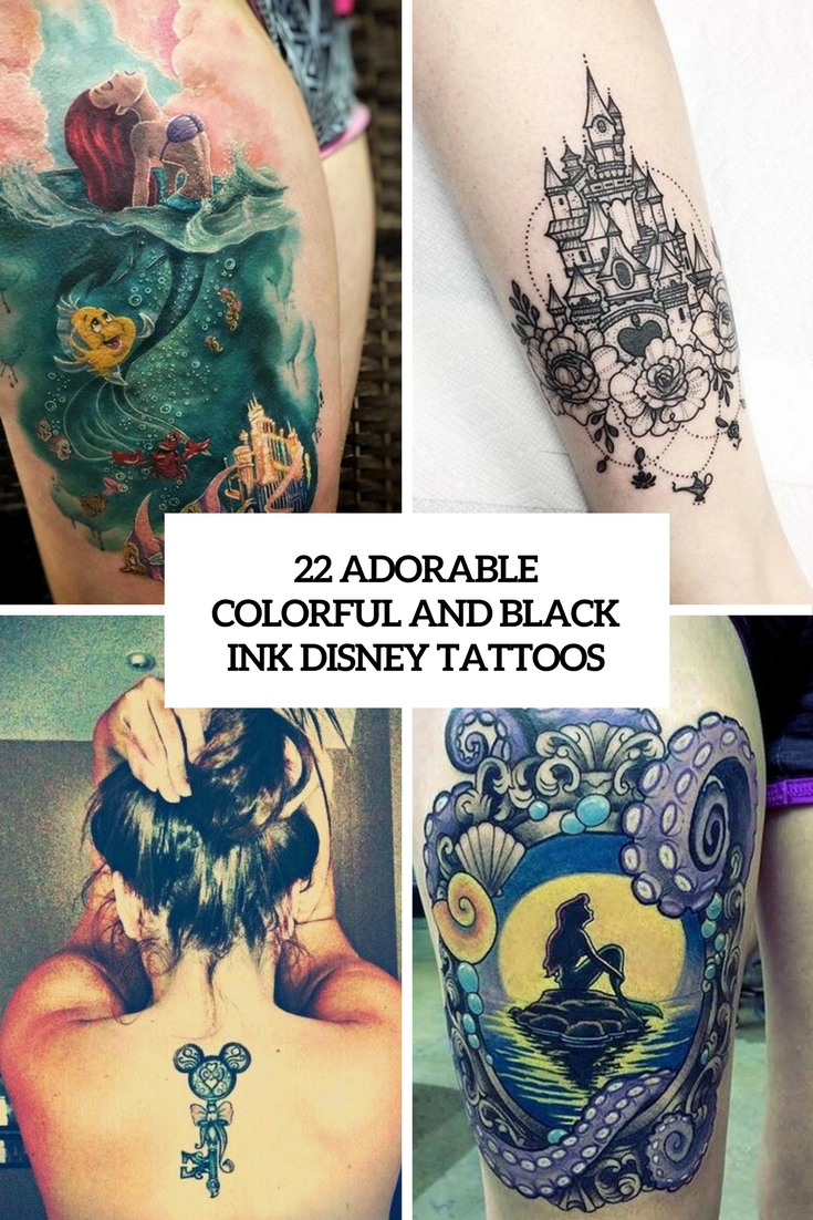 adorable colorful and black ink disney tattoos cover