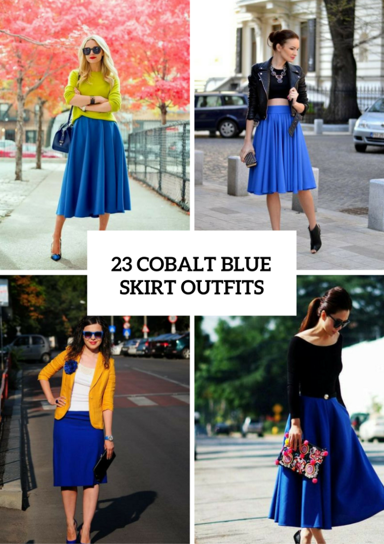 23 Fabulous Cobalt Blue Skirt Outfits To Repeat