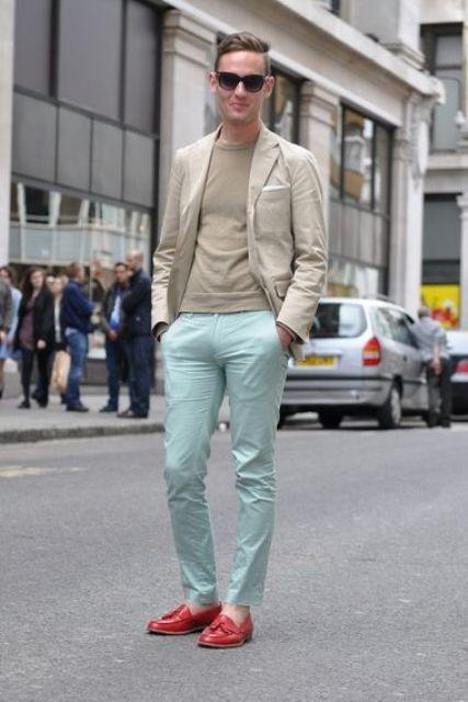 With beige shirt, beige jacket