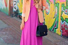 With black chain strap bag, light orange blazer and metallic sandals