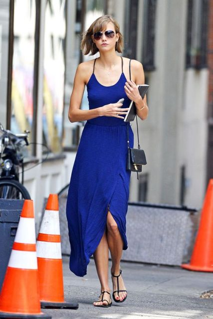 With black sandals and mini crossbody bag