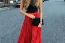 With black top and black velvet clutch