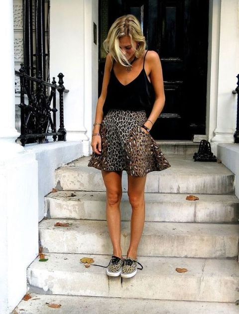 With black top and leopard sneakers