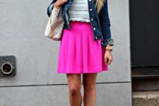 With blouse, denim jacket, sandals and printed bag