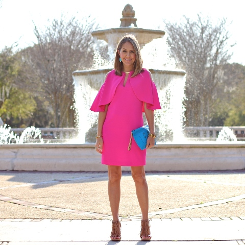 With blue clutch and brown sandals