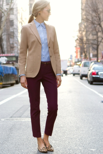 With blue shirt, beige blazer and marsala pants