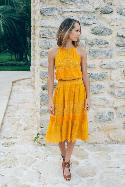 Yellow dresses and shoes