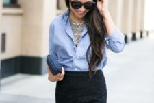 With button down shirt, statement necklace and mini clutch