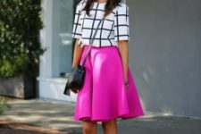 With checked shirt, black crossbody bag and black sandals