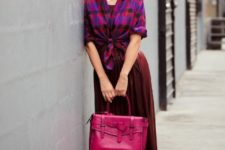 With checked shirt, marsala pumps and hot pink bag