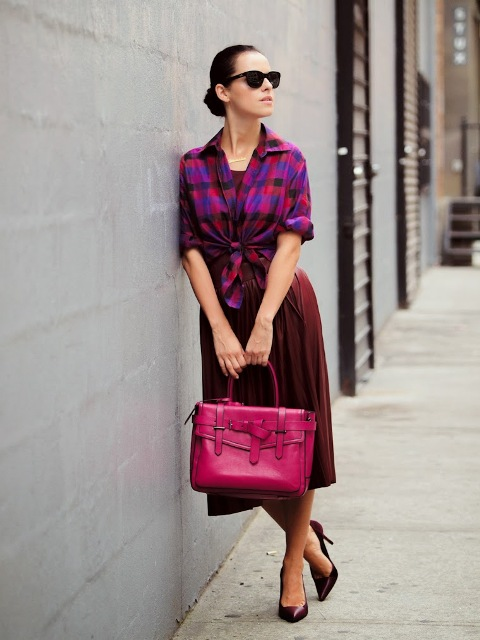 With checked shirt, marsala pumps and hot pink bag