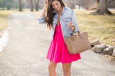 With denim jacket, beige bag and sandals
