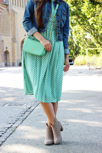 With denim jacket, mint green bag and gray ankle boots