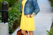 With denim jacket, pastel color lace up sandals and leather tote