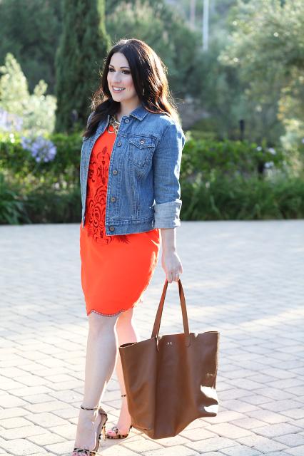 With denim jacket, printed heels and brown bag