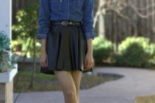 With denim shirt and black skater skirt