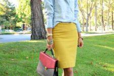 With denim shirt, platform sandals and two color bag