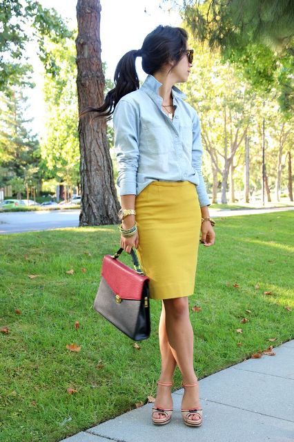 78b7ff2cd 22 Excellent Outfits With Yellow Skirts - Styleoholic