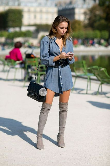 With denim shirtdress, gray over the knee boots and chain strap bag