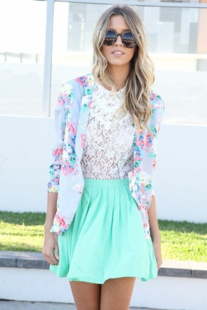 With lace blouse and floral blazer