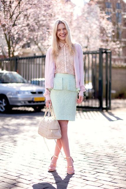 With lace blouse, pale pink jacket and metallic heels