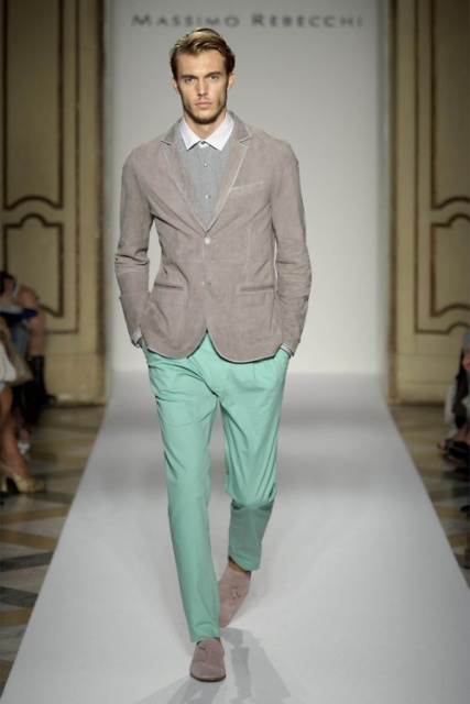 With light gray blazer and gray suede shoes