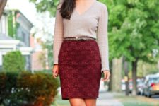 With light gray shirt, leopard shoes and printed belt