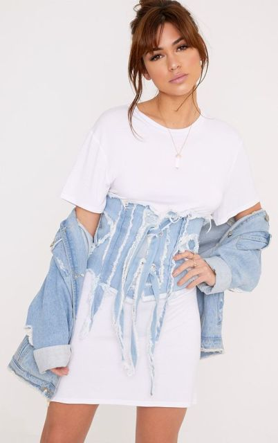 With long t-shirt and denim jacket