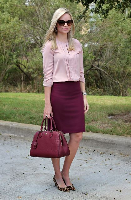 With pale pink blouse, leopard shoes and marsala bag