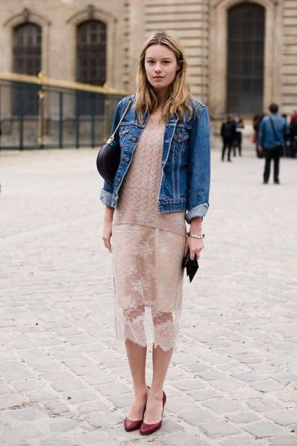With pale pink sweatshirt, denim jacket, marsala shoes and small bag