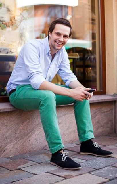 Picture of with pastel color shirt and black suede shoes for Pastel colored men s t shirts