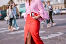 With pink blouse and leopard sandals