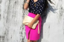 With polka dot blouse, neutral clutch and shoes