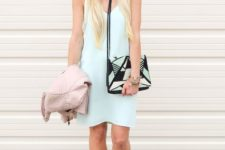 With printed clutch and nude sandals