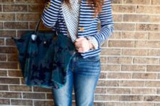 With printed shirt, striped jacket, cuffed jeans and black ankle boots