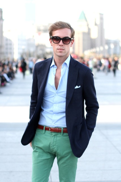 With shirt, navy blue blazer and brown belt
