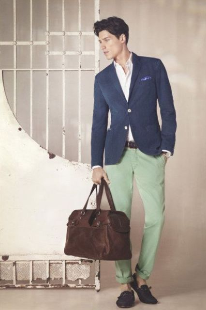 With shirt, navy blue jacket, big brown bag and shoes