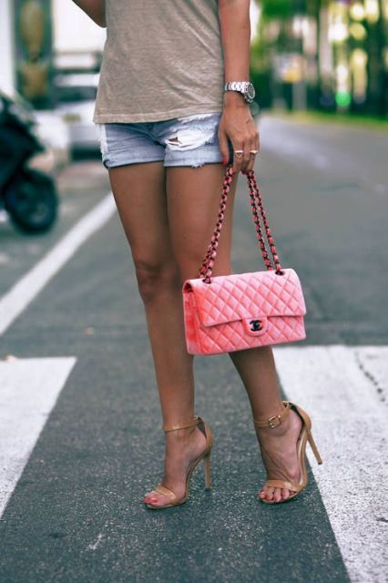 With simple t-shirt, denim shorts and beige sandals